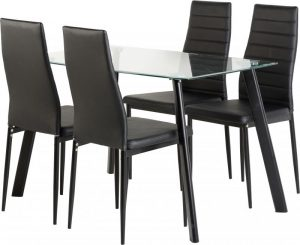 Abbey 4 Seater glass – Black