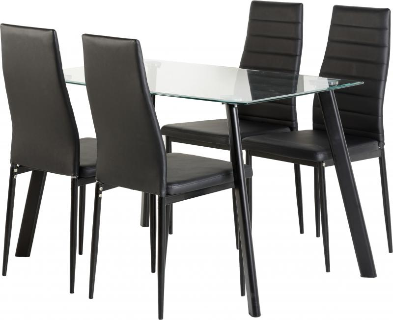Abbey 4 Seater glass - Black