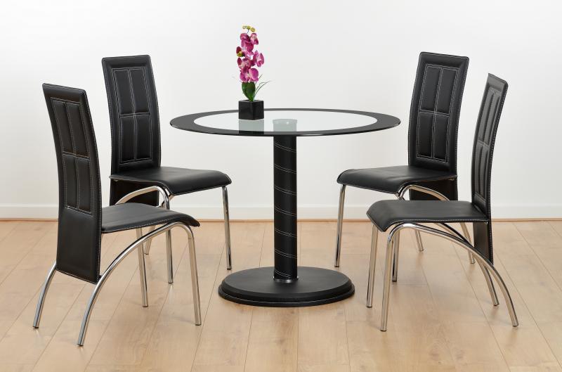 Cameo 4 Seater Glass - Black