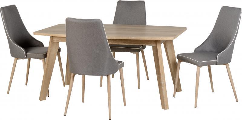 Finley 4 Seater Oak - Grey