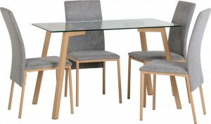 Morton 4 Seater Glass – Oak Effect