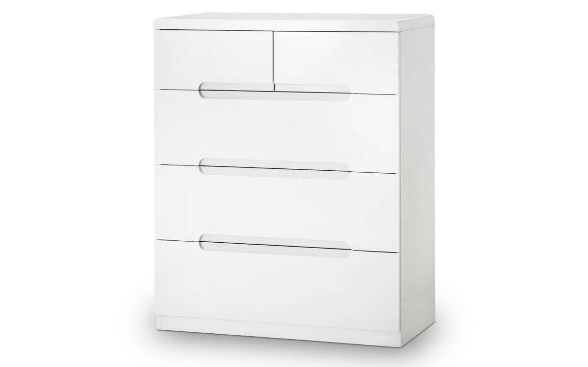 Manhattan 3+2 Drawer Chest - White Gloss