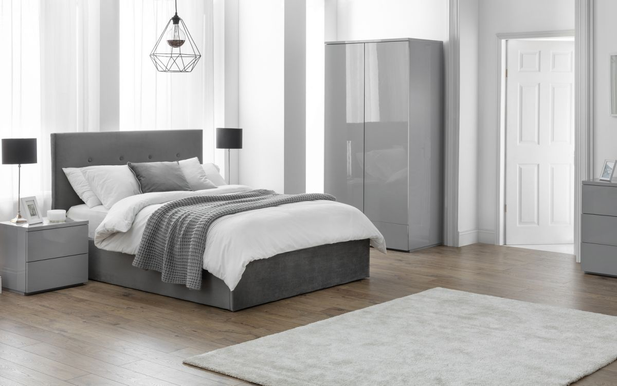 Shoreditch lift up Storage Bed - Slate Velvet