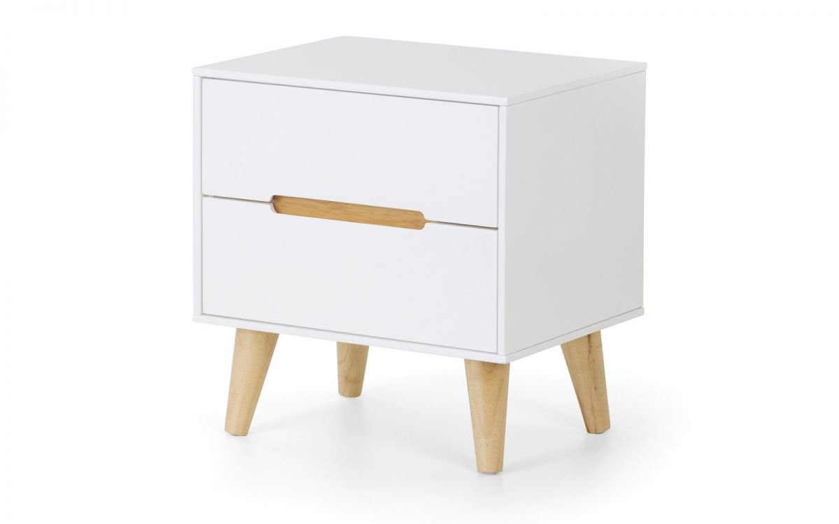 Alicia 2 Drawer Bedside - Matt White, Oak