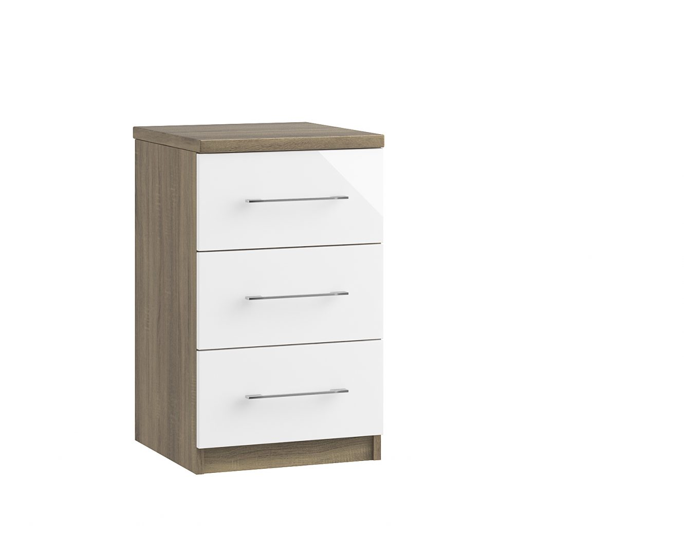 Catania 3 Drawer Bedside - Driftwood Oak
