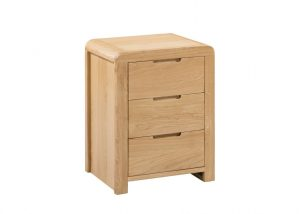Curve 3 Drawer Bedside – Oak