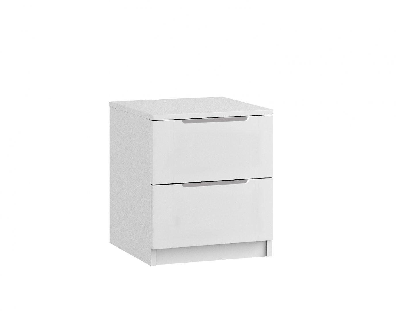 Genoa 2 Drawer Bedside - White Gloss