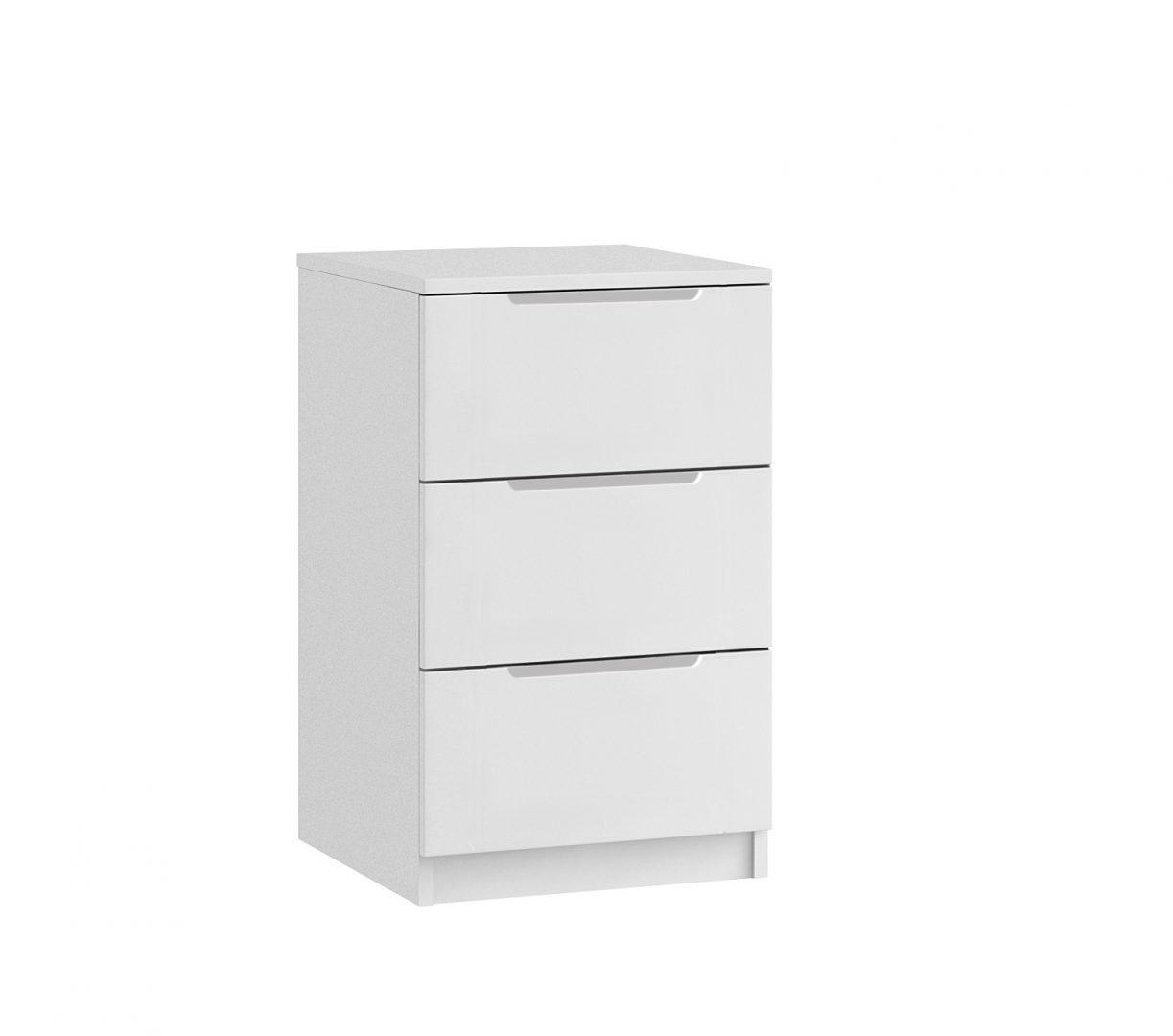 Genoa 3 Drawer Bedside - White Gloss