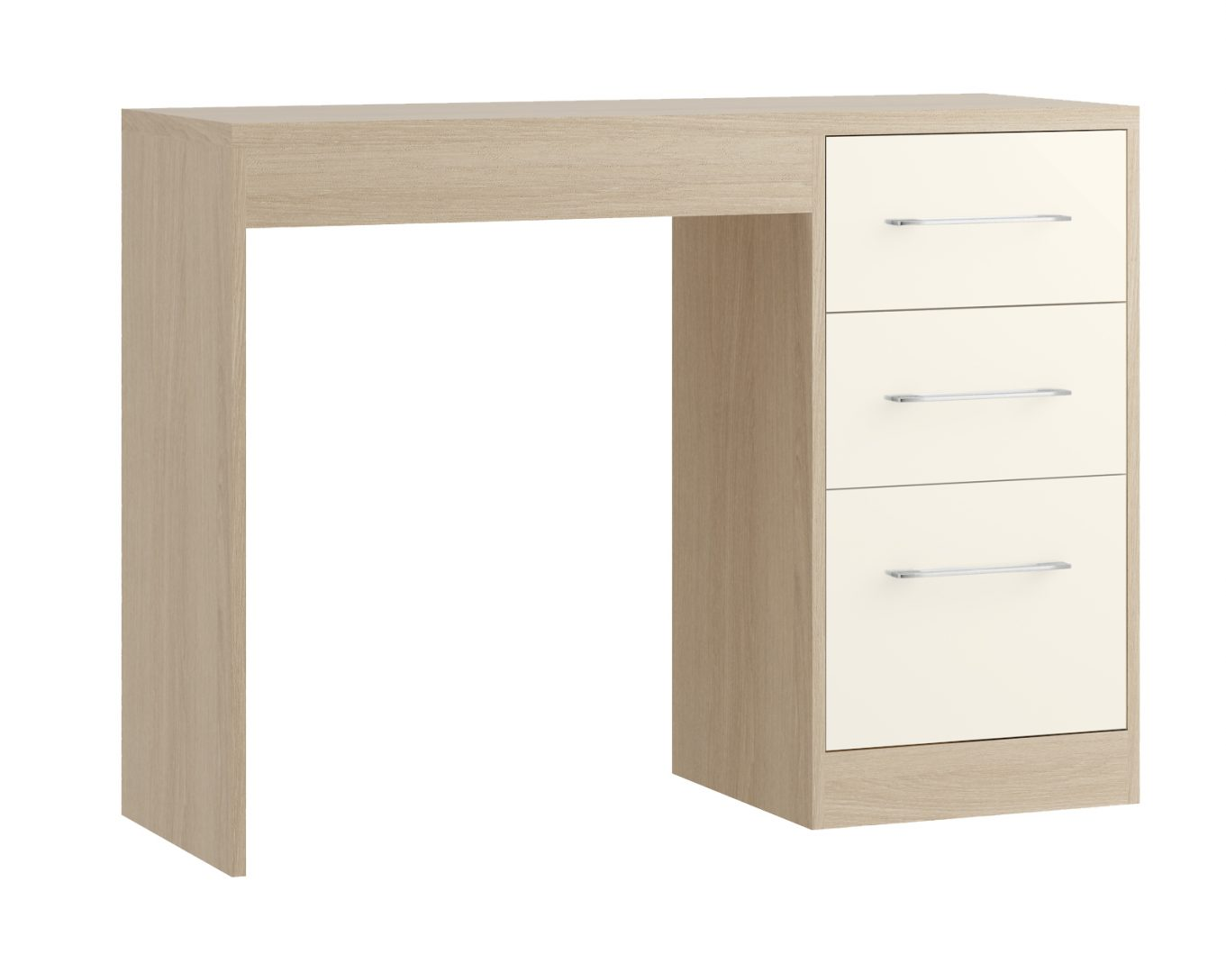 Minori Single Pedestal Desk - Light Oak, Ivory
