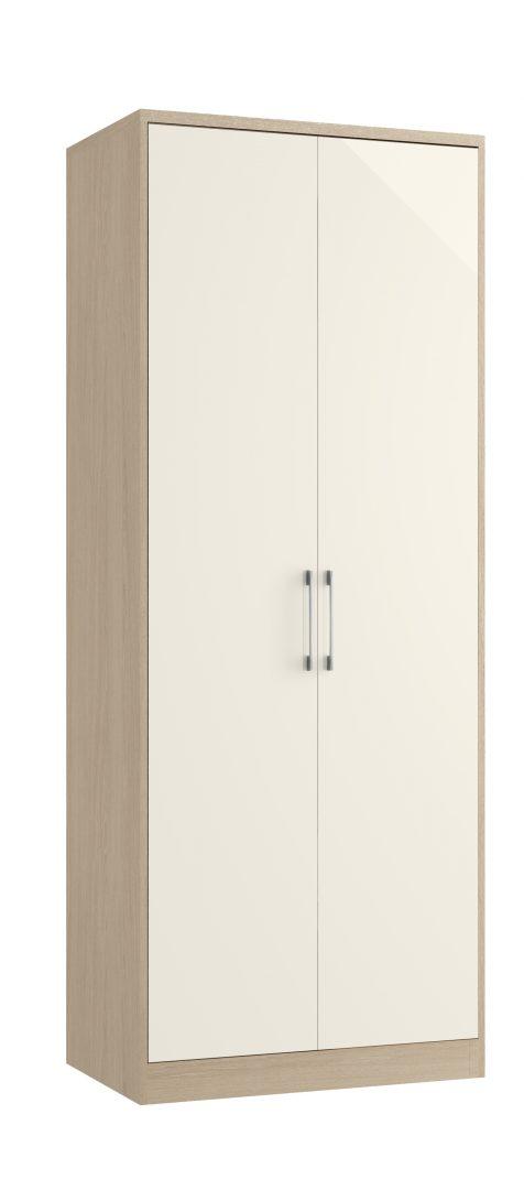 Minori Tall Double Wardrobe - Light Oak, Ivory