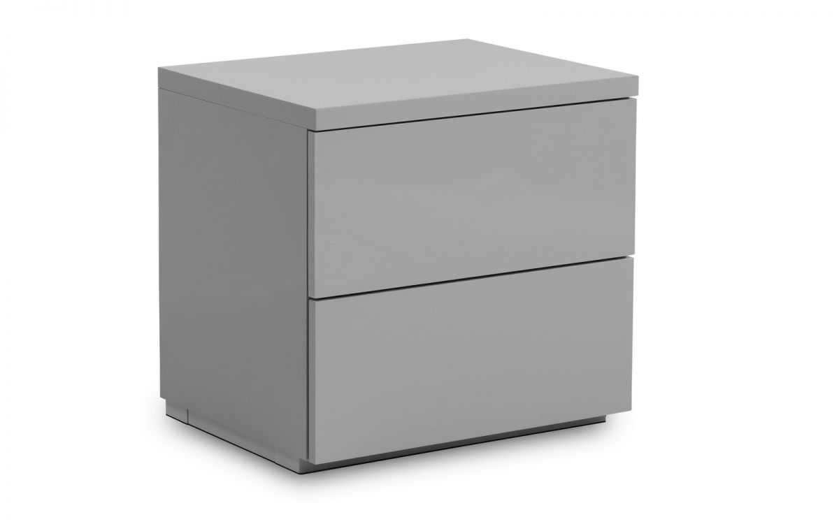 Monaco 2 Drawer Bedside - Grey Gloss