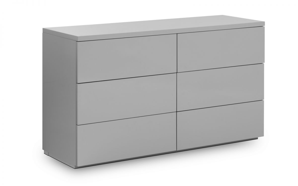Monaco 6 Drawer Wide Chest - Grey Gloss