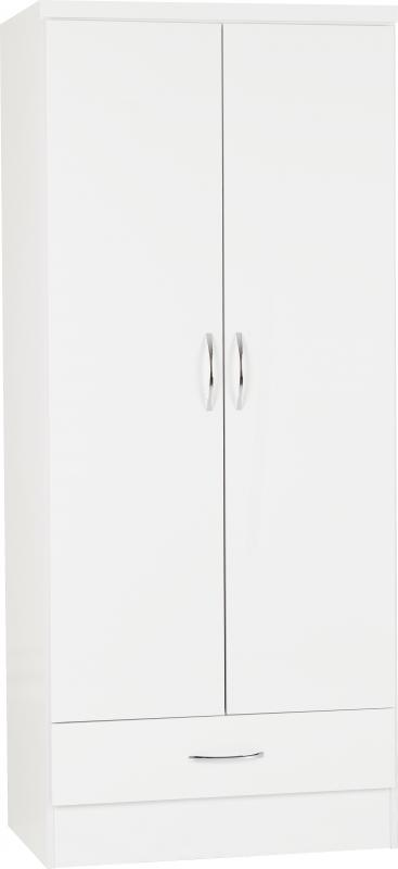 Nevada 2 Door Combi Wardrobe - White Gloss