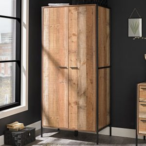 Hoxton 2 Door Double Wardrobe - Distressed Oak Effect