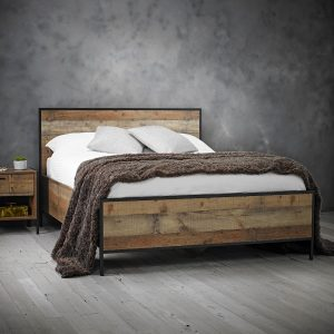 Hoxton Double Bed – Distressed Oak Effect And Black Metal Frame