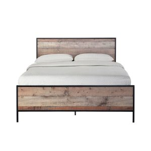 Hoxton Double Bed - Distressed Oak Effect And Black Metal Frame