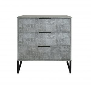 Diego 3 Drawer Chest – Pewter – Black Under Frame
