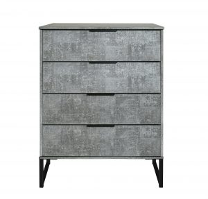 Diego 4 Drawer Chest – Pewter – Black Under Frame