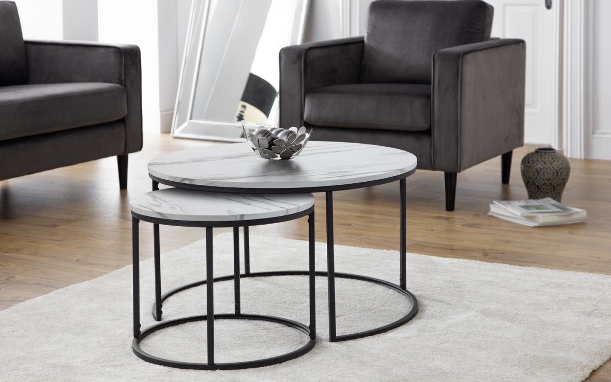 Bellini Round Nesting Coffee Table White Marble Effect Landlord Furniture Uk