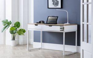 California 2 Drawer Desk – White – Maple effect Top