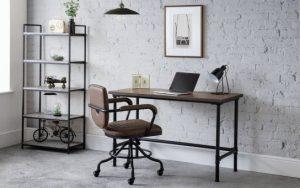 Carnegie Pipe Desk – Mocha Elm – Black pipe Legs