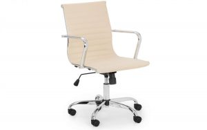 Gio Office Chair – Ivory – Faux Leather