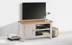 Richmond Media Unit – Grey – Solid Oak